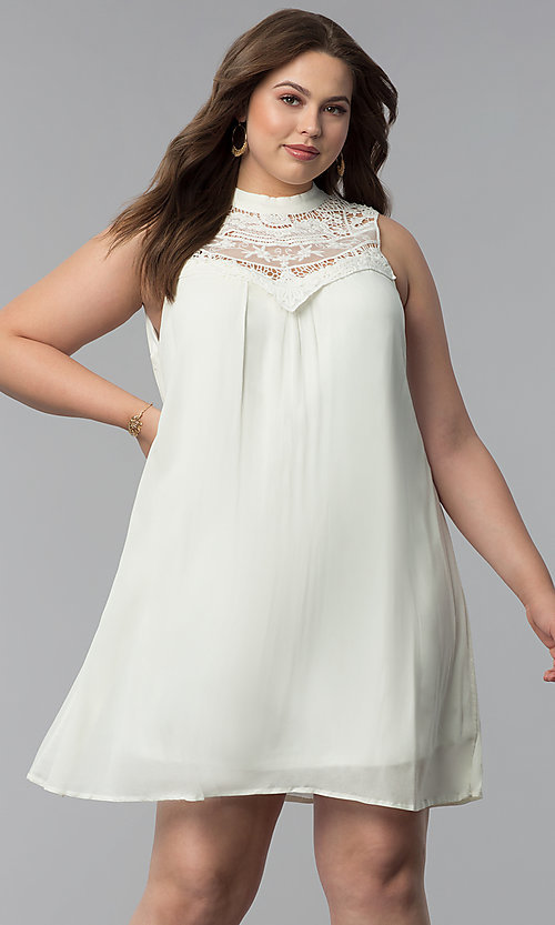 Image of short high-neck plus-size graduation party dress. Style: AS-i738565e4x Front Image