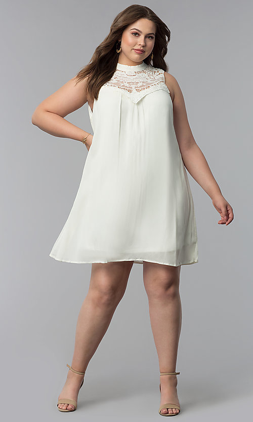 Image of short high-neck plus-size graduation party dress. Style: AS-i738565e4x Detail Image 3