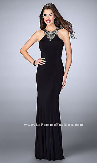 High-Neck Open-Back Long Black Prom Dress