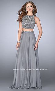 Gunmetal Silver Two-Piece Chiffon Prom Dress