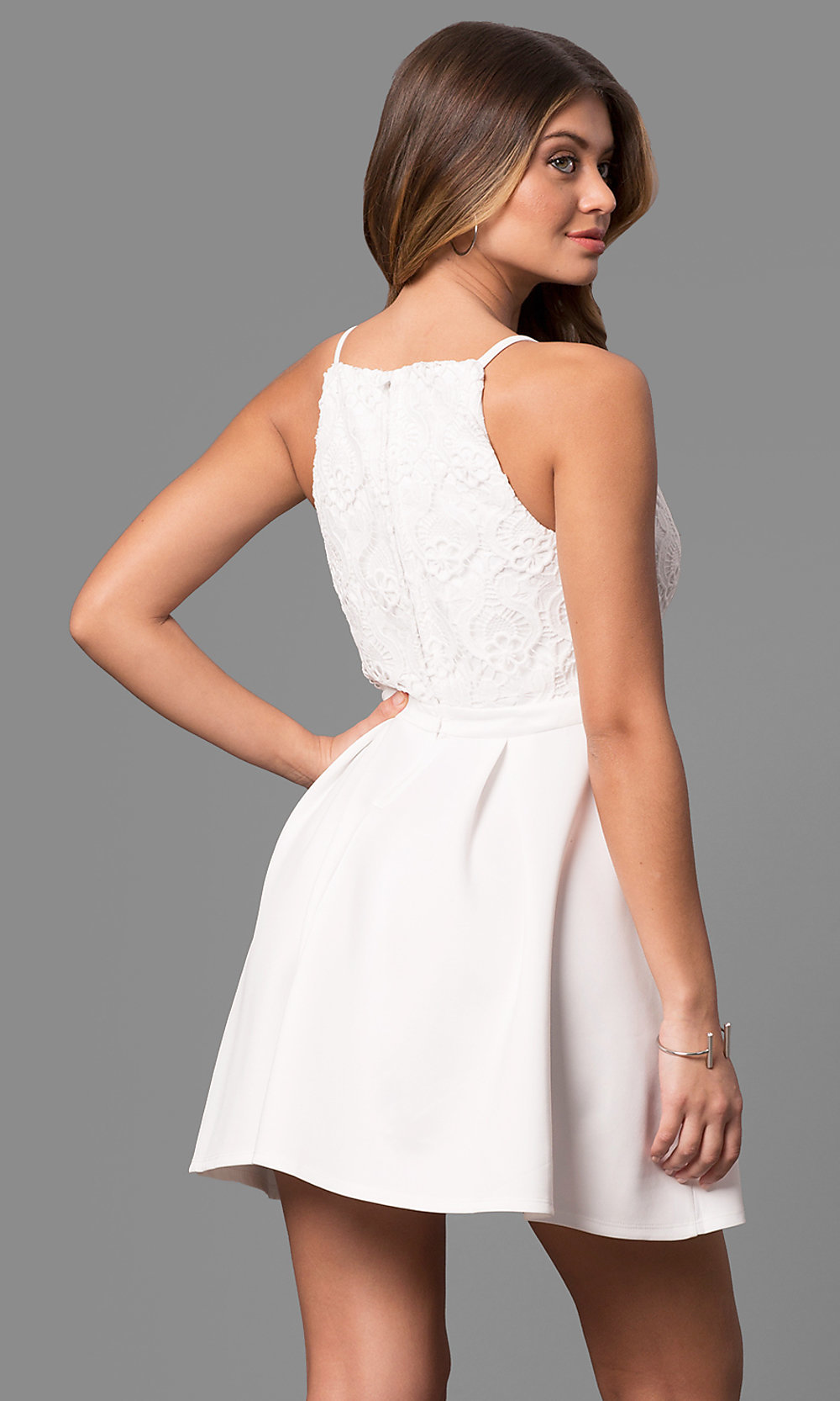 short white graduation dress with lace  promgirl