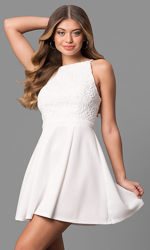 83f9690d6480 Image of short white lace-bodice graduation dress with pleats. Style: AS-