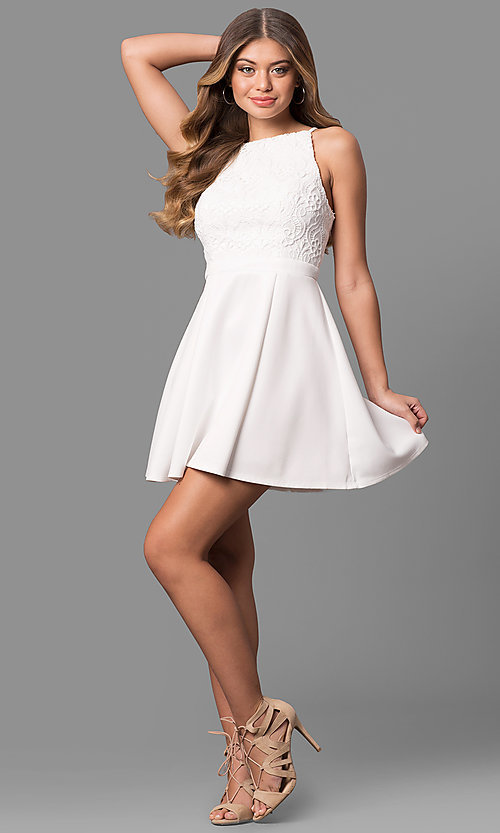 Short White Graduation Dress with Lace - PromGirl