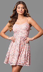 Short Sweetheart Lace Party Dress