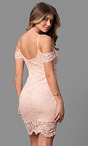 Image of short pink lace party dress with banded sleeves. Style: AS-i573956r8 Back Image