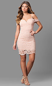 Image of short pink lace party dress with banded sleeves. Style: AS-i573956r8 Detail Image 1