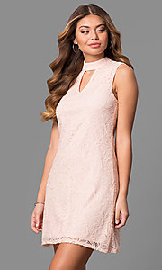 Short Lace High Neck Shift Party Dress