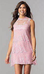 Image of short high-neck lace shift graduation mini dress. Style: AS-i745056a35 Detail Image 2