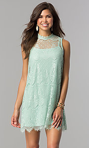 Image of short high-neck lace shift graduation mini dress. Style: AS-i745056a35 Detail Image 3