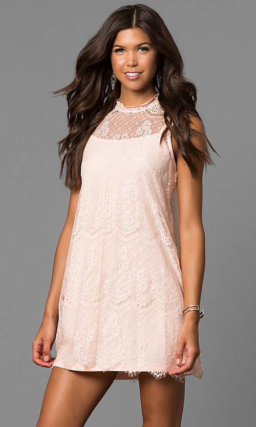Image of short high-neck lace shift graduation mini dress. Style: AS-i745056a35 Front Image