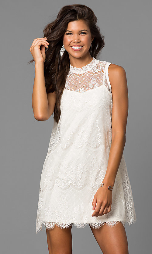 Image of short high-neck lace shift graduation mini dress. Style: AS-i745056a35 Detail Image 1