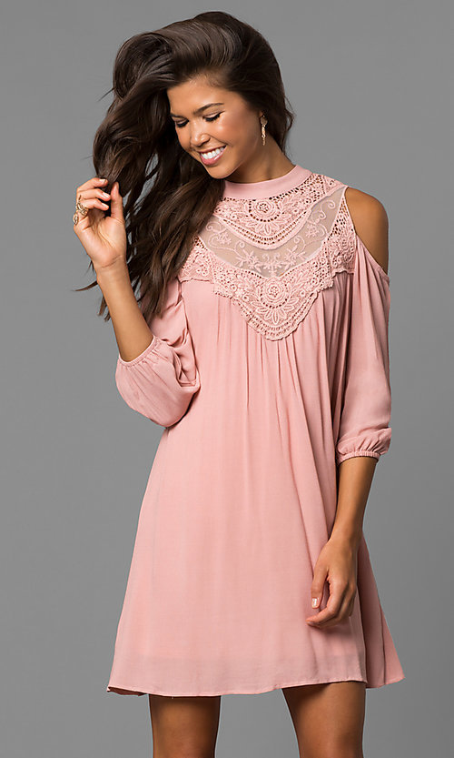 Image of long sleeve short graduation shift dress.  Style: AS-i448265e4 Front Image