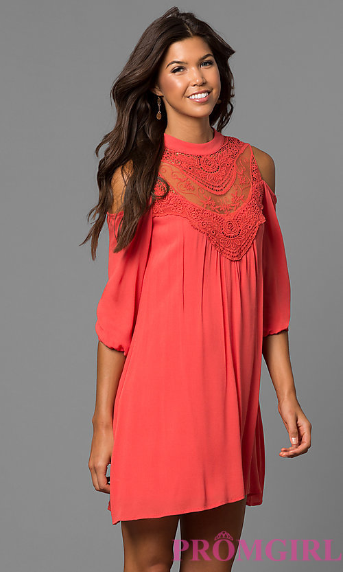 Image of long sleeve short graduation shift dress.  Style: AS-i448265e4 Detail Image 2