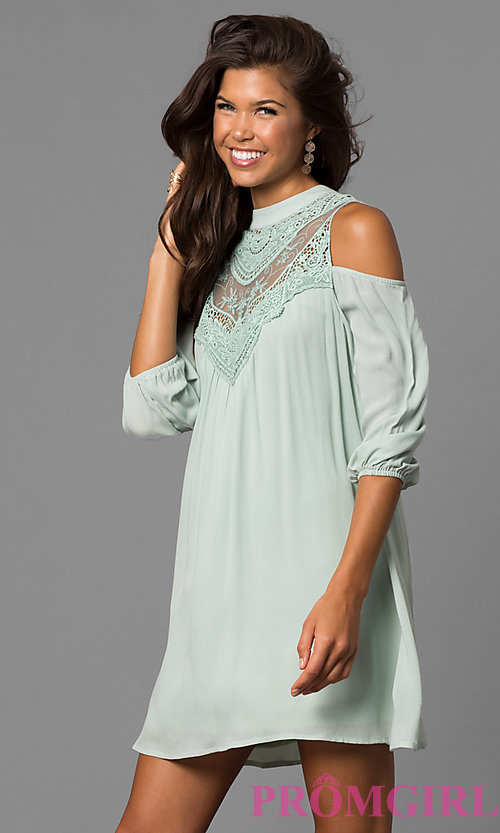 Image of long sleeve short graduation shift dress.  Style: AS-i448265e4 Detail Image 3