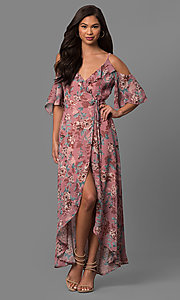 High-Low Cold-Shoulder Casual Day Dress with Print