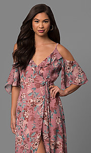 Image of high-low cold-shoulder casual day dress with print. Style: AS-i484377c63 Detail Image 1