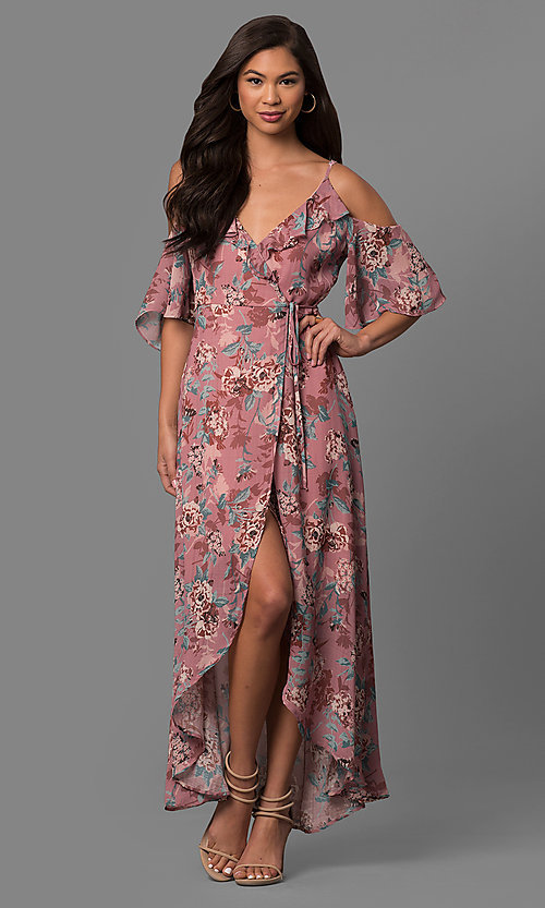 235f617c3 Image of high-low cold-shoulder casual day dress with print. Style: