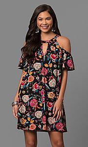 Short Black Casual Dress with Fuchsia Floral Print