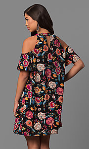 Image of short black casual dress with fuchsia floral print. Style: AS-i745845b08 Back Image