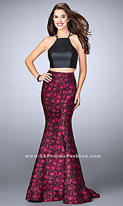 Long Jacquard Two Piece Prom Dress