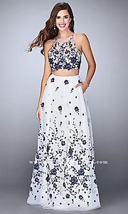 White Embroidered Two Piece Prom Dress