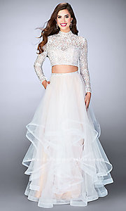 Two Piece A-Line Prom Dress with Long Sleeves