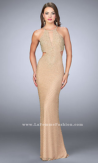 Long Open Back Beaded Prom Dress with Cut Outs
