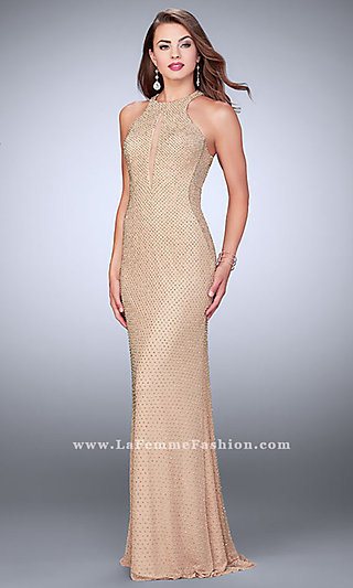Long Beaded Prom Dress with a Keyhole Cut Out