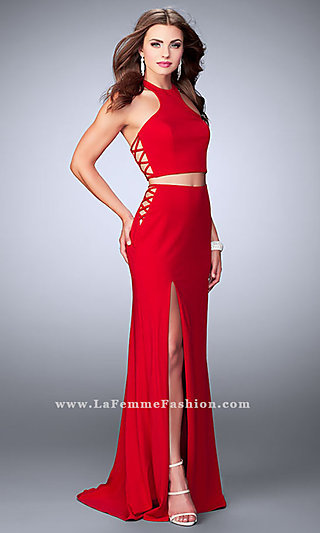 Two Piece Long Racer Back Jersey Prom Dress