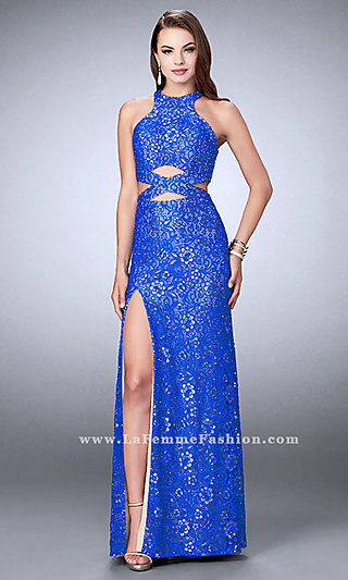 Long Lace High Neck Cut Out Prom Dress