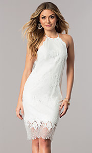 Lace Short White Party Dress with High Neckline
