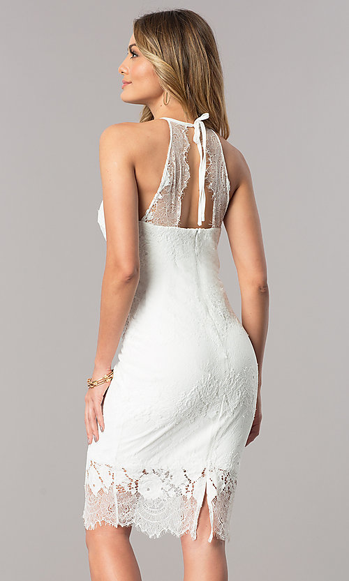 Image of lace short white party dress with high neckline. Style: JU-10055 Back Image