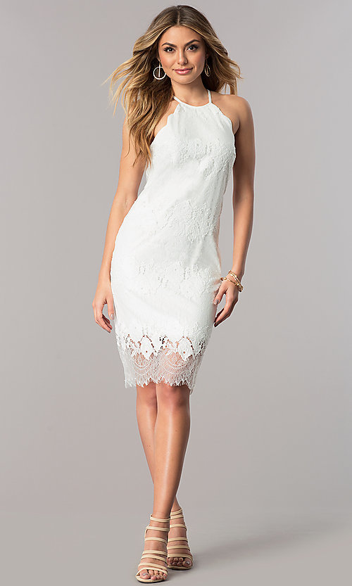 Image of lace short white party dress with high neckline. Style: JU-10055 Detail Image 1