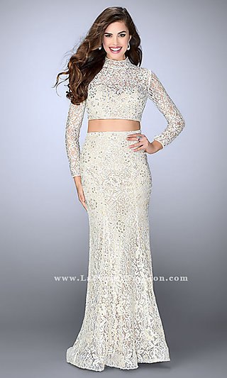 Two-Piece Long Sleeve Lace Formal Dress