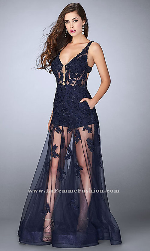 a939ed8fb35d Long Sheer Navy Prom Dress with Romper Shorts