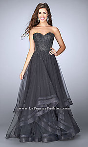 Strapless A-Line Prom Dress