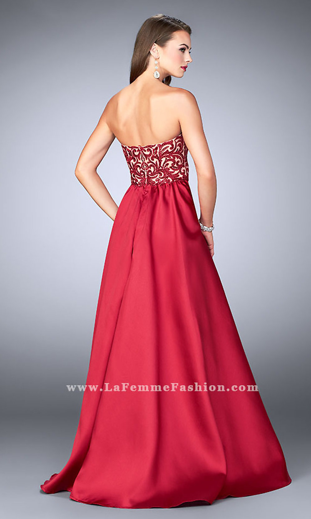 7987437fef97 Long Mikado Embroidered Prom Dress with Cape Skirt