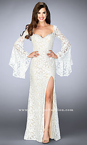 Long Sweetheart Prom Dress with Long Bell Sleeves