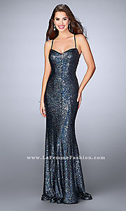 Sequin Long Open Back Prom Dress