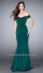 Long Off the Shoulder Prom Dress with Side Cut Outs