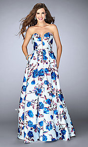 Strapless Blue and Multi Print Dress