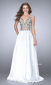 Two-Piece Ivory Mikado V-Neck Ball Gown