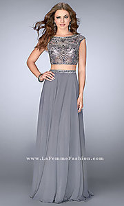 Silver Chiffon Two Piece Prom Dress with Cap Sleeves
