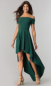 High-Low Party Dress with Off-the-Shoulder Sleeves