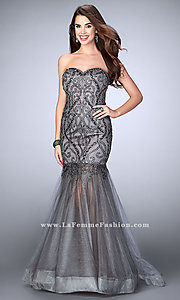 Grey Strapless Prom Dress with a Sheer Skirt