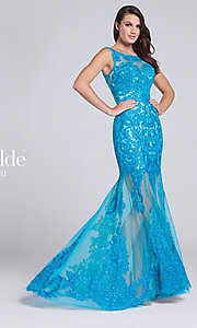 Lace Embroidered Long Prom Dress