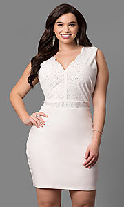 Short Ivory Plus-Size Graduation Dress