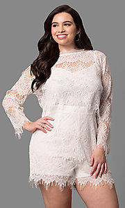 Lace Plus-Size Romper with Removable Long Sleeve Top