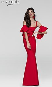 Long Prom Dress with Detached Flutter Sleeves