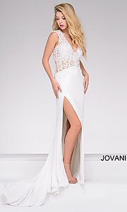 Long High Side Slit Embroidered Illusion Bodice Gown